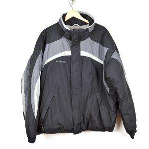 Columbia Ski Snow Winter Jacket Coat Insulated, Black & Gray, Waterproof Sz XXL